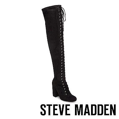 STEVE MADDEN-GENERAL 綁帶高跟拉鍊過膝長靴-黑色