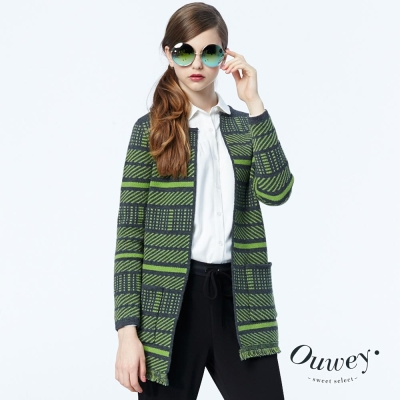 OUWEY歐薇-雙面緹花流蘇毛衣外套