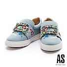 休閒鞋 AS 玩味繽粉水鑽方釦點綴刺繡牛仔布厚底休閒鞋-淺藍