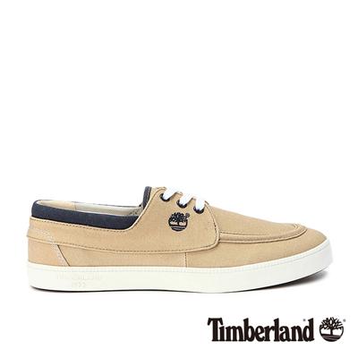 Timberland-男款淺棕色素面綁帶帆布休閒鞋