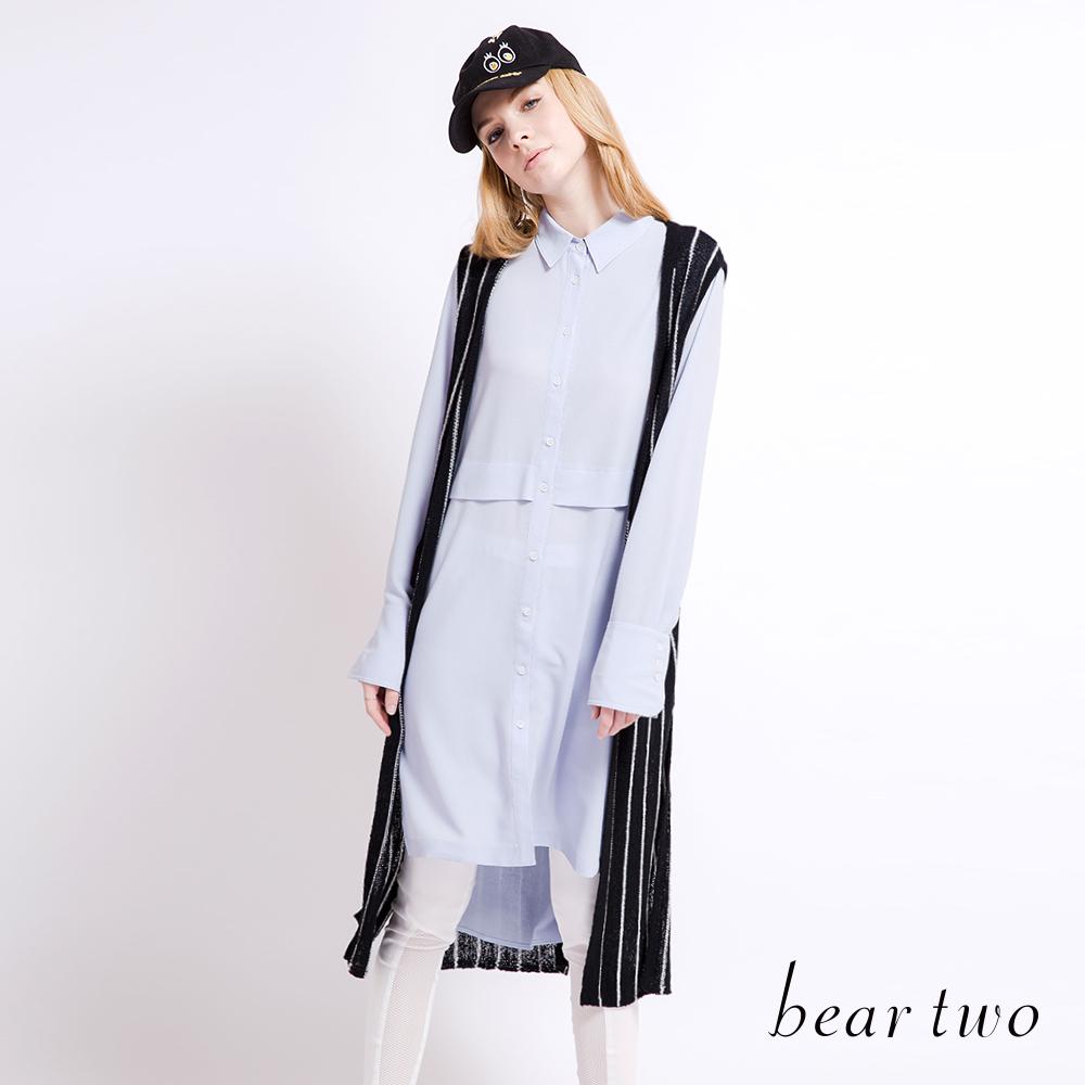 beartwo 直紋側開衩長版開襟針織外套(黑色)-動態show