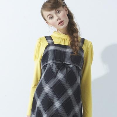 ohoh-mini-寬版吊帶平口格紋孕婦背心洋裝