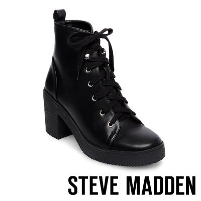 STEVE MADDEN-ABBY-BLACK-厚底粗跟綁帶短靴-黑色