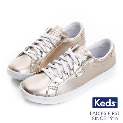 Keds 復古運動皮質綁帶休閒鞋(For Kids)-玫瑰金
