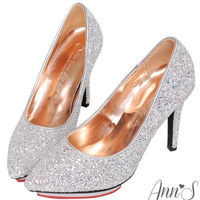 Ann'S璀璨銀河-碎石亮片愛心防水台尖頭高跟鞋-銀白
