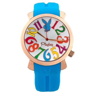PLAYBOY 60週年紀念錶款 玫瑰金框+淺藍色帶/44mm
