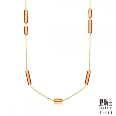 點睛品Emphasis 黃金項鍊- g* collection -矩形紅瑪瑙