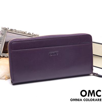 OMC - 原皮魅力系列舌扣多卡零錢包二折式長夾-神秘紫