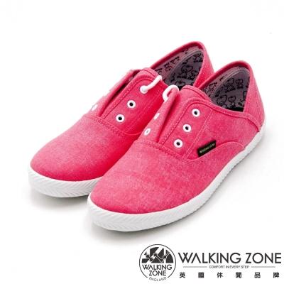 WALKING ZONE果漾YOUNG純棉帆布鞋休閒鞋 女鞋-粉