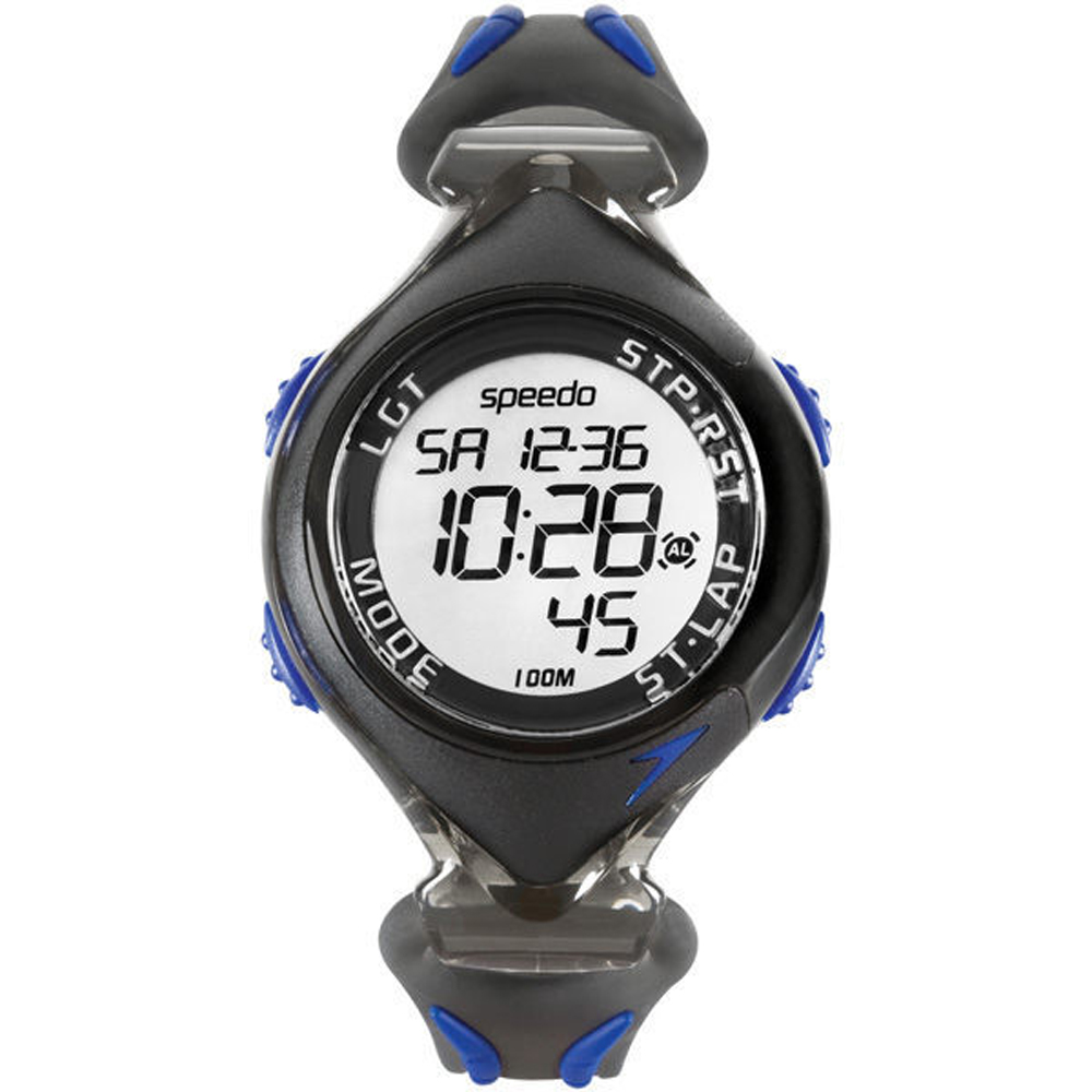 Speedo 暢快運動電子腕錶-藍/40mm