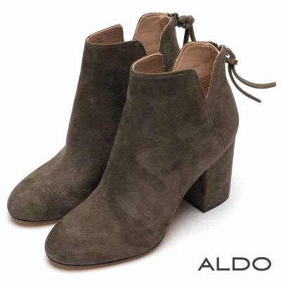 ALDO 原色真皮V字切口拉鏈粗跟短靴~個性卡其