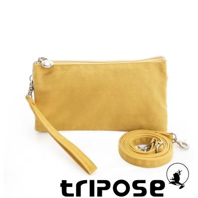 tripose 漫遊系列岩紋簡約微旅手拿/側肩包 黃