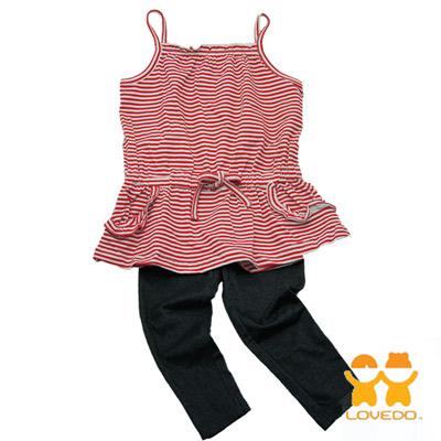 【LOVEDO-艾唯多童裝】熱情紅白條紋  兩件組套裝(紅白)