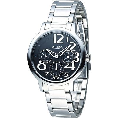 ALBA 玩美時尚全日曆女錶(AP6053X1)-黑/36mm