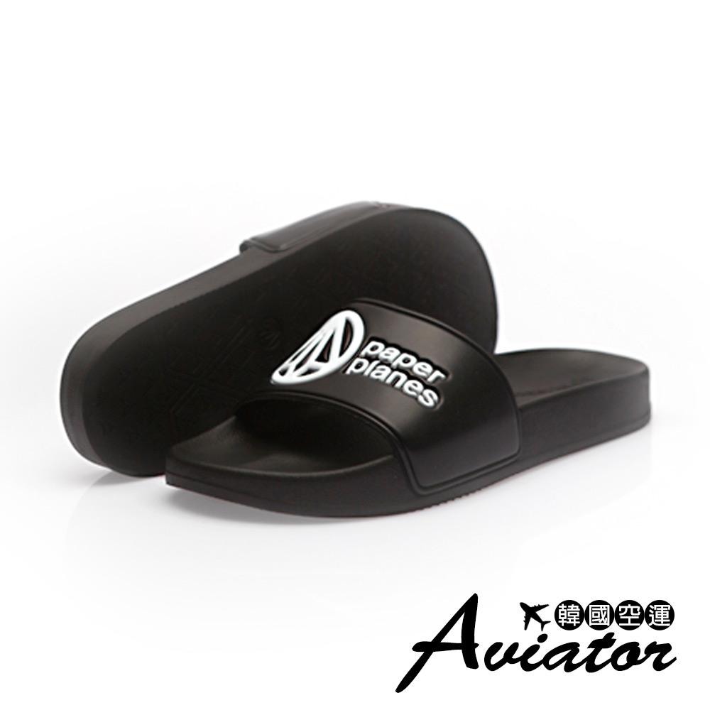 Aviator*韓國空運-PAPERPLANES正韓製經典配色厚底運動涼拖鞋-黑