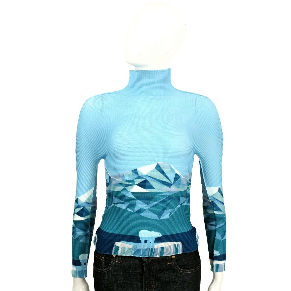 三宅一生 ISSEY MIYAKE CAULIFLOWER 藍色幾何圖形皺褶高領長袖上衣