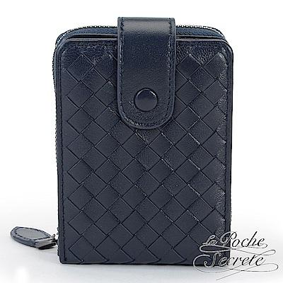 La Poche Secrete 經典編織小羊皮證件拉鍊卡夾包-深海藍