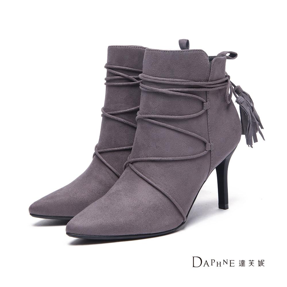 達芙妮DAPHNE 短靴-纏繞綁帶流蘇尖頭高跟踝靴-灰8H