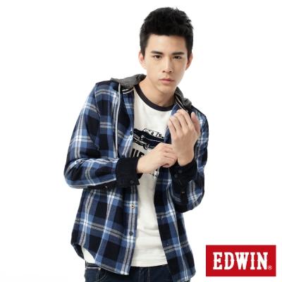 EDWIN 襯衫 靛藍格帽可拆襯衫 -男-藍色