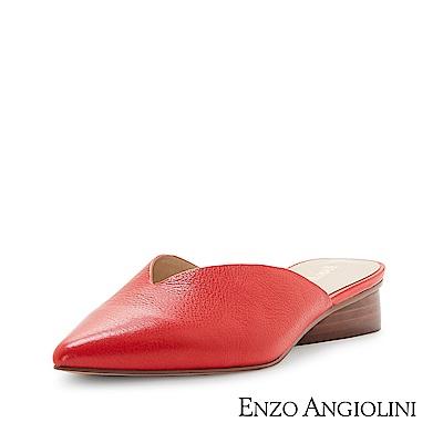 ENZO ANGIOLINI--尖頭V型勒穆低跟涼拖鞋-夏日紅