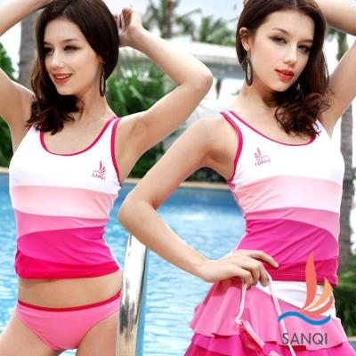 SANQI三奇 休閒色調系 三件式比基尼泳裝 泳衣(粉M~XL)