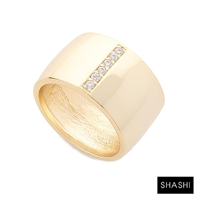 SHASHI 紐約品牌 Cameron 鑲鑽金色寬版戒指 925純銀鑲18K金