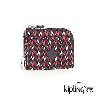 Kipling 零錢包 磚紅幾何印花-小