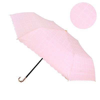 2mm 色膠抗UV 格紋滾邊輕量彎把手開傘 (格子粉)