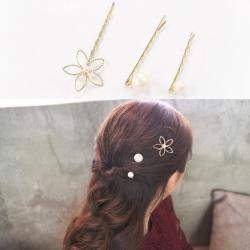 梨花HaNA 韓國氛花朵朵棉花珍珠髮夾三件套