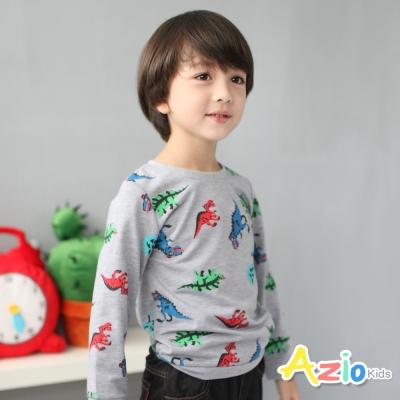 Azio Kids 童裝-上衣 多彩恐龍縮口長袖T恤(灰)