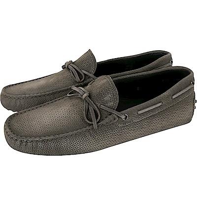 TOD'S Gommino 壓紋麂皮綁帶休閒豆豆鞋(男鞋/棕灰)