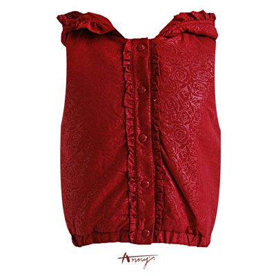 Anny荷葉單排釦壓紋鋪棉背心*4480紅