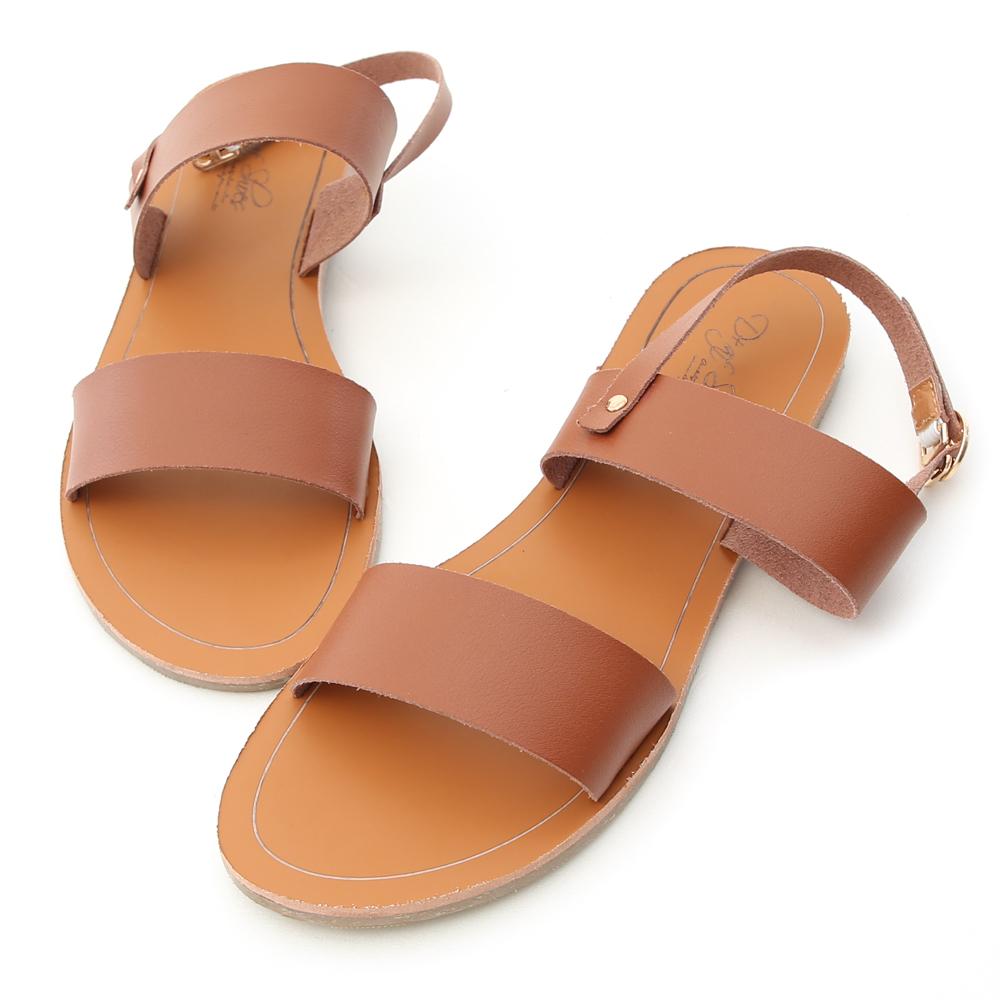 D+AF 涼感愜意.簡約一字線條平底涼鞋*棕
