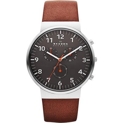 SKAGEN 潮流時尚計時石英腕錶-灰x咖啡/40mm