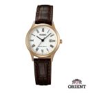ORIENT 東方錶TRADITIONAL STYLE系列復古石英錶-白x玫瑰金框28mm