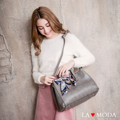 La Moda 古典優雅特色蝴蝶結緞帶大容量肩背斜背手提方包(灰)