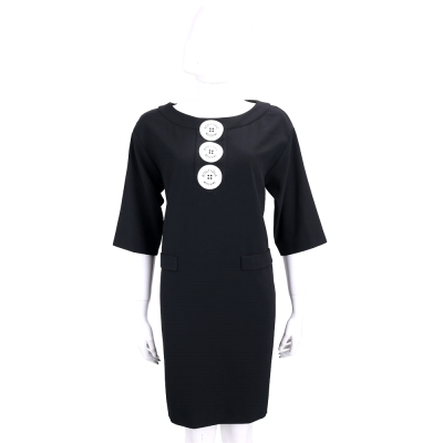 BOUTIQUE MOSCHINO 黑色拼接鈕釦圖印設計五分袖洋裝
