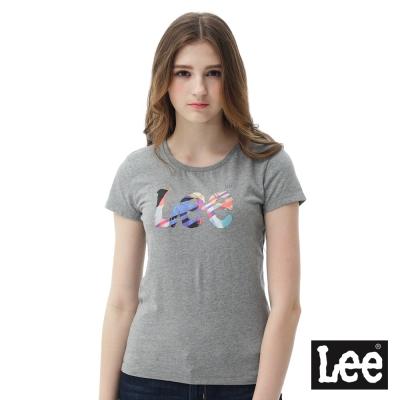 Lee 彩色條紋色塊LOGO短袖圓領T恤 女 深麻花灰