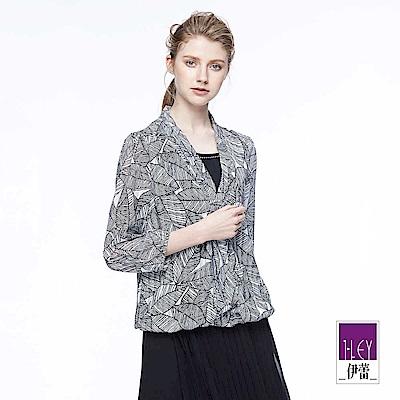 ILEY伊蕾 剪接裝飾繫領幾何印花上衣魅力價商品(黑)