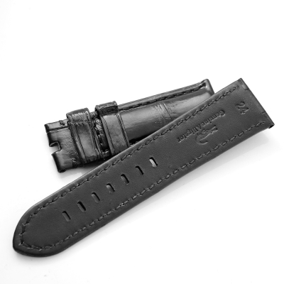 PARNIS BOX 24mm真鱷魚 黑色車線 百搭款 錶帶