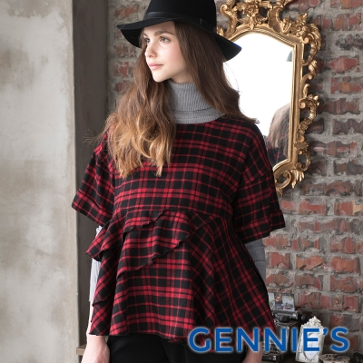 Gennies專櫃-經典格紋荷葉邊拼接上衣(T3A17)-紅黑格