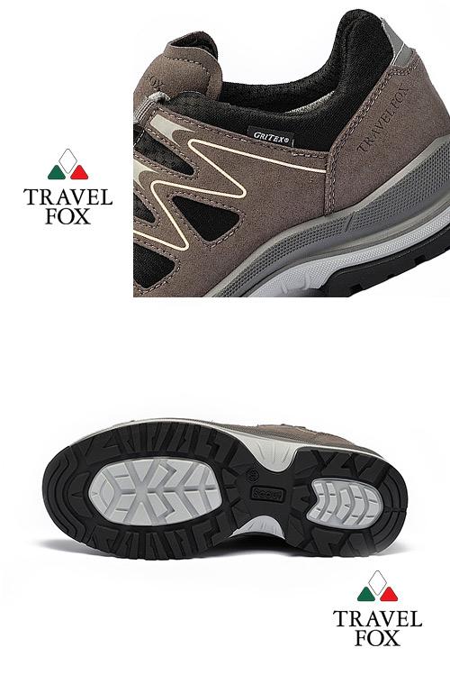 TRAVEL FOX(男) 山高氣高 歐洲進口耐冷熱防滑戶外登山鞋-氣波灰
