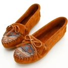 MINNETONKA 深棕色印地安刺繡麂皮莫卡辛 女鞋