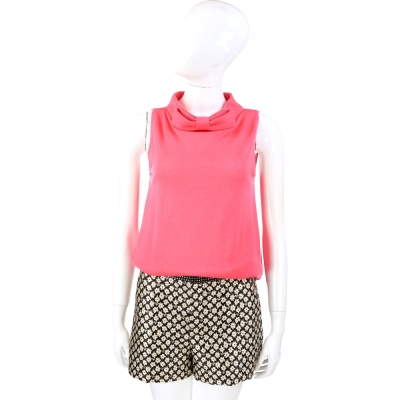 MOSCHINO 亮粉色蝴蝶結領針織羊毛上衣(100%LANA)