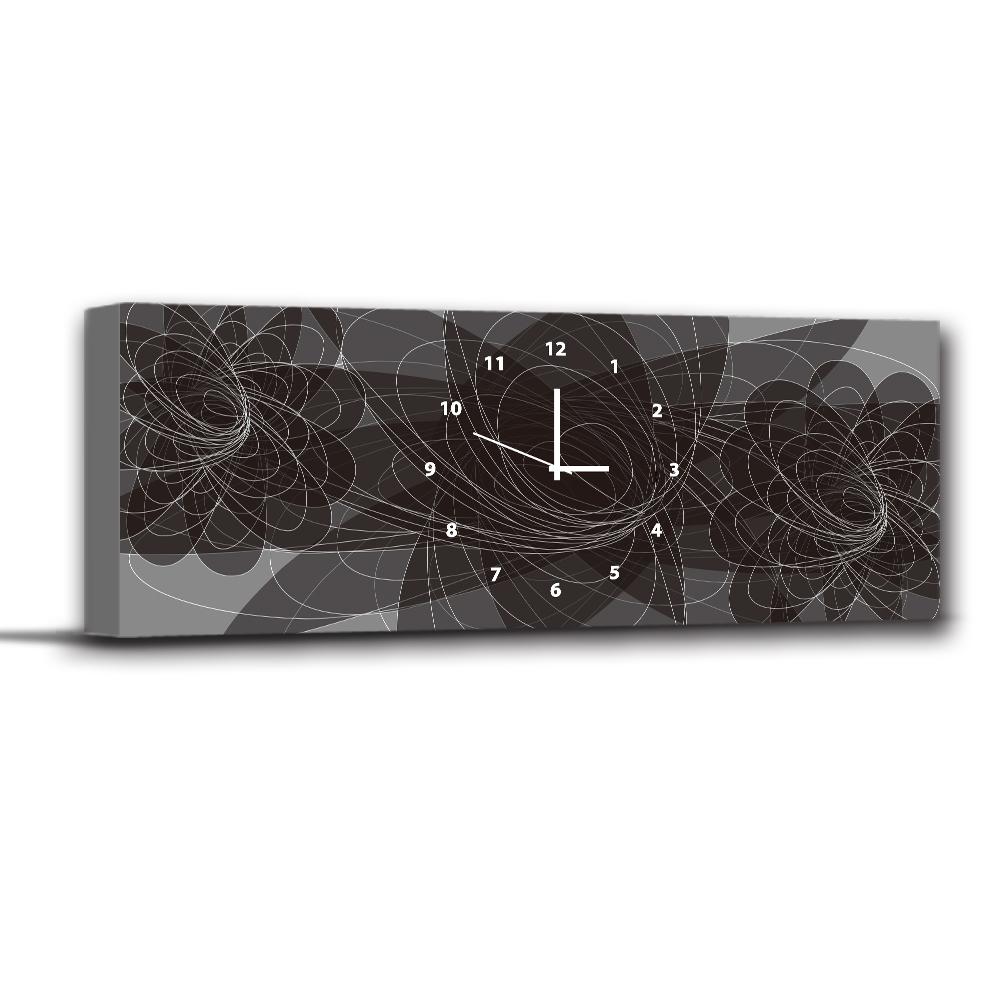 美學365 - 單聯式無框藝術掛畫時鐘 - 黑蝶隱躍30x80cm