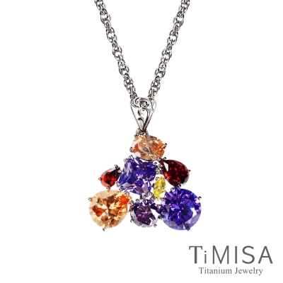 TiMISA《絢麗典藏-崇拜(紫橘)》純鈦項鍊(SB)