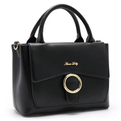 ANNA DOLLY 知性優雅Abigail扣環兩用包 經典黑