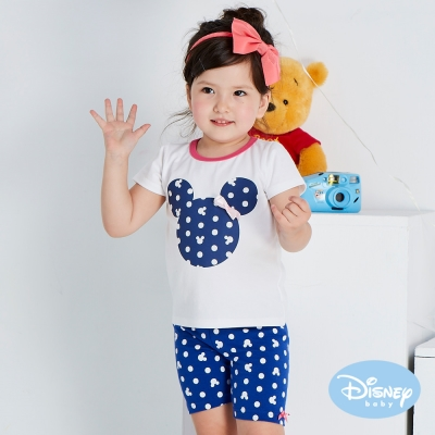 Disney baby 米妮點點蝴蝶結彈力五分褲 深藍