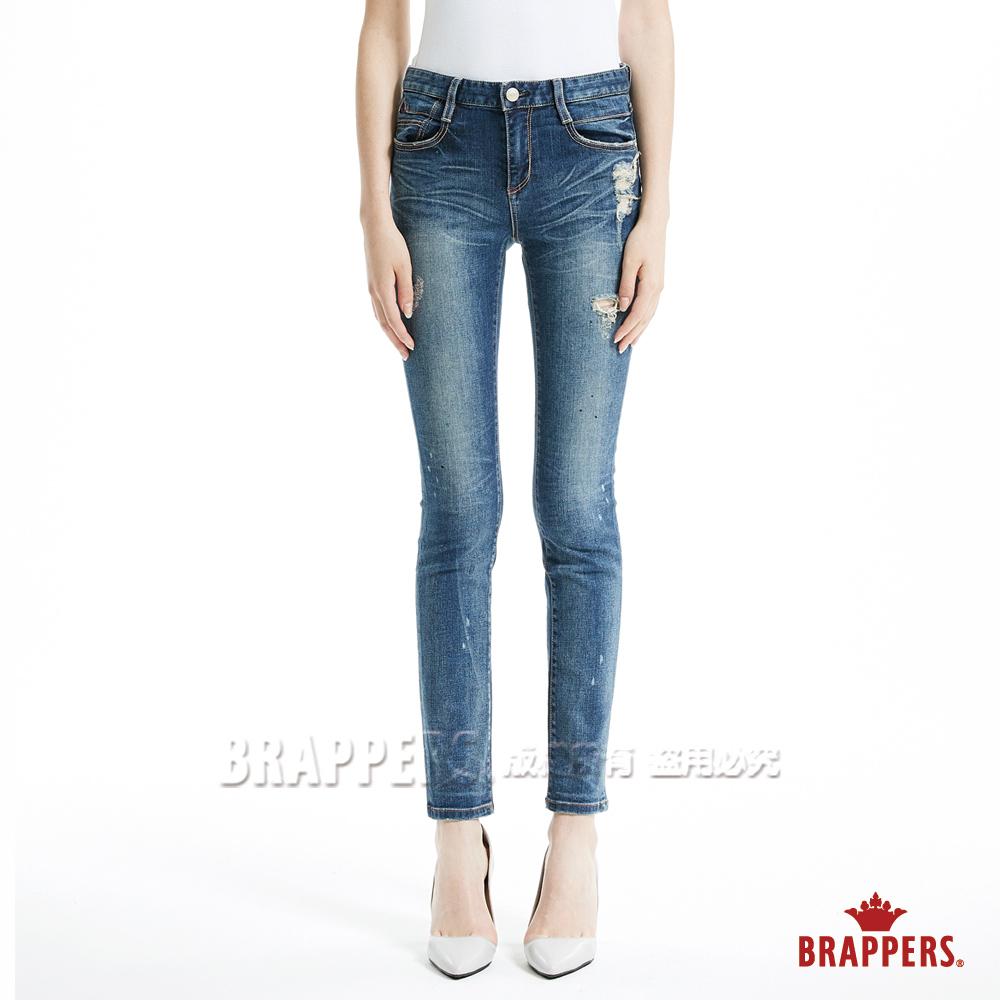 BRAPPERS 女款 新美腳Royal系列-女用中腰彈性窄管褲-藍