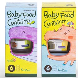 Glasslock YumYum強化玻璃副食品保鮮盒 - 寶貝專用6件組(圓+方)